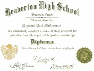 beaverton high school graduation 1986